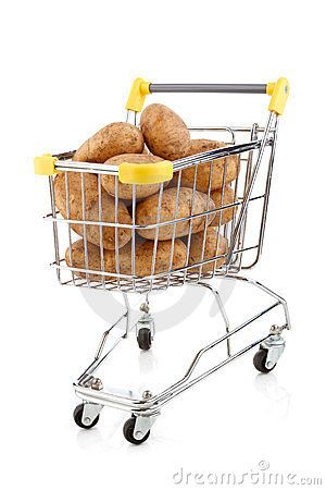 Shopping trolley and potatoes