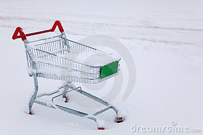 Shopping trolley in the snow