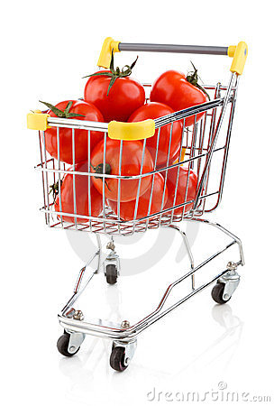 Shopping trolley and tomatoes