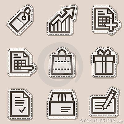 Shopping web icons, brown contour sticker series