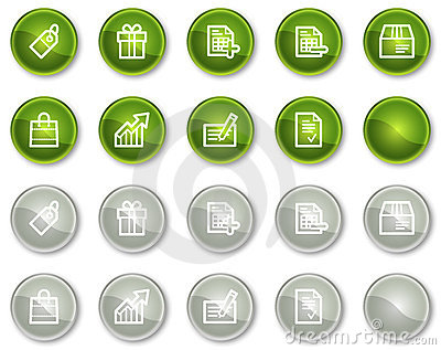 Shopping web icons, green and grey circle buttons