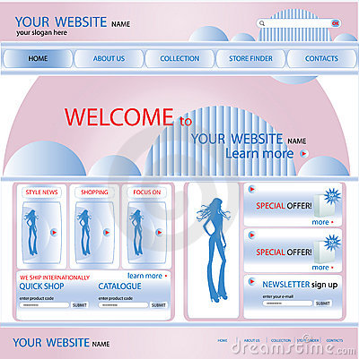 Shopping web site design template, vector