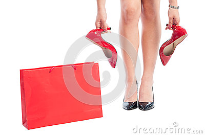 Shopping Woman Buying New Red Shoes Stock Photo - Image: 46957916
