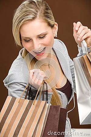 Free Shopping Woman Fashion Happy Bag Royalty Free Stock Image - 19009856