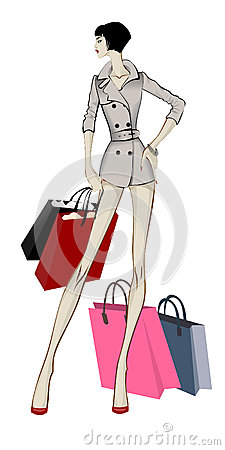 Shopping woman in grey trench with packages