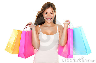 Shopping woman happy