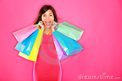 Shopping woman happy excited