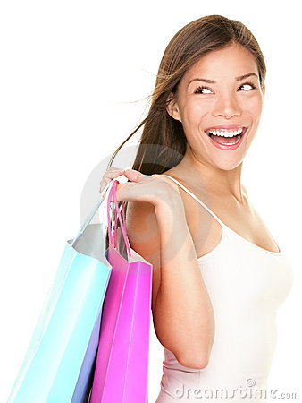 Shopping woman happy looking at white side