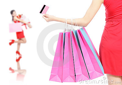 Shopping woman happy take credit card and bag