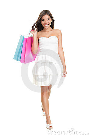 Free Shopping Woman In Summer Dress Stock Image - 19219611