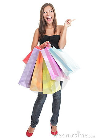 Shopping woman isolated - pointing excited