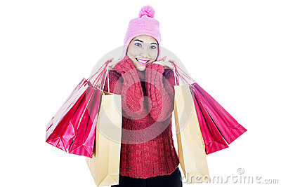 Shopping woman isolated on white