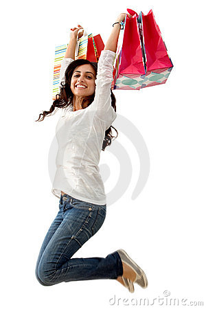 Shopping woman jumping