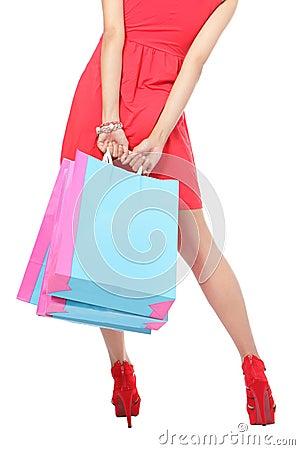 Free Shopping Woman Leg And Bag Stock Image - 26464231