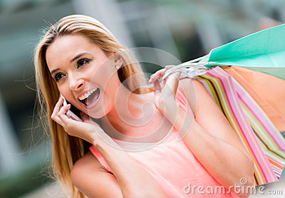 Shopping woman on the phone