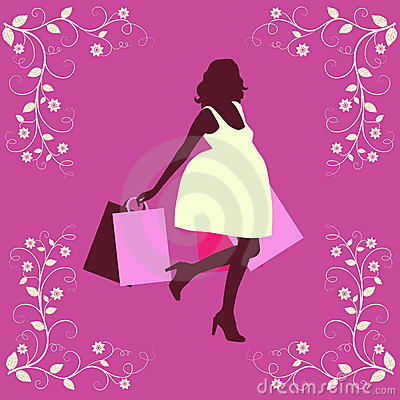 Shopping woman silhouette.