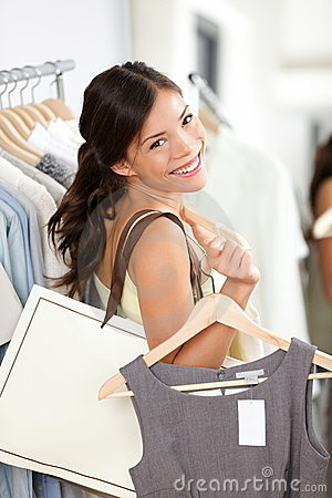 Shopping woman smiling happy
