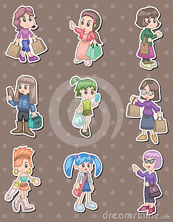 Shopping woman stickers