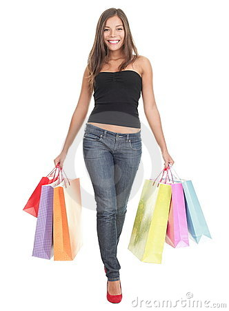 Shopping woman on white background