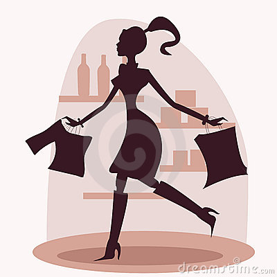 Shopping women silhouette