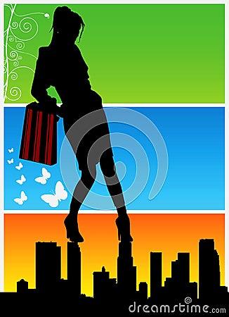 shopping women vector 2