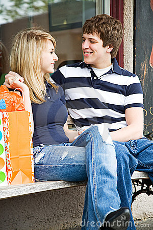 Shopping young caucasian couple