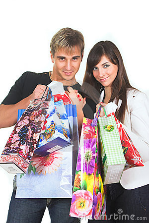 Shopping young couple