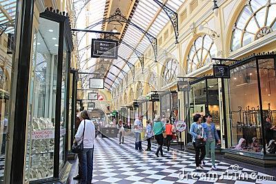 Shoppinggalleria Melbourne Redaktionell Fotografering för Bildbyråer