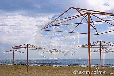 Shore with beach umbrellas
