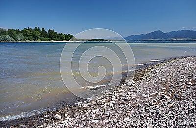 Shore of Liptovska Mara lake and Low Tatras