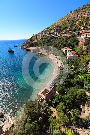 Shore of mediterranean  sea, of Alanya, Turkey