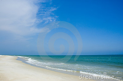 Shoreline and blue sky