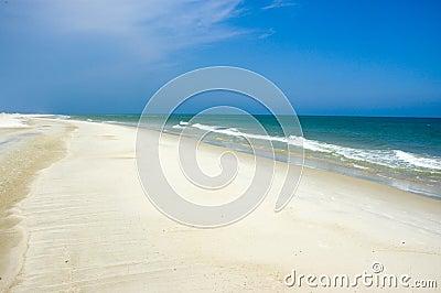 Shoreline and blue sky