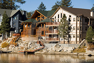 Shoreline cabins at Big Bear Lake
