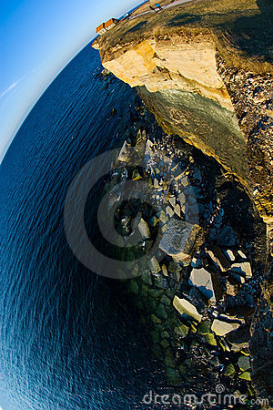 Shoreline cliff edge