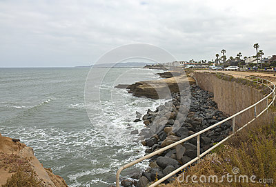 Shoreline erosion in Southern California.