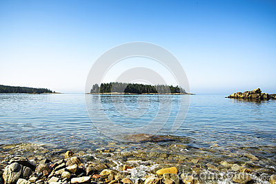 Shoreline Island Scene - Acadia National Park