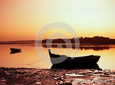 Shoreline at sunset, Alvor, Portugal.