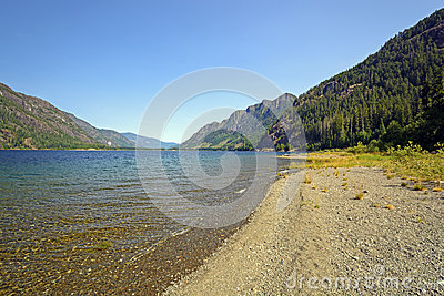 Shoreline View of a Long Mountain Lake