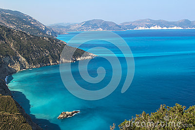 Shores of island Kefalonia in the Ionian sea