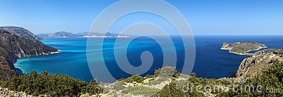 Shores of island Kefalonia in the Ionian sea,