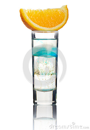 Short alcohol cocktail with orange slice isolated