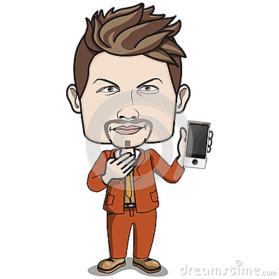 Adult Male Businessman holding a smart phone
