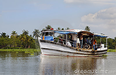 Short distance boat ferry Kerala India Editorial Image