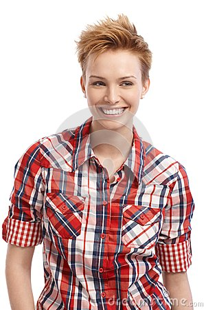 Short hair gingerish woman with a big smile