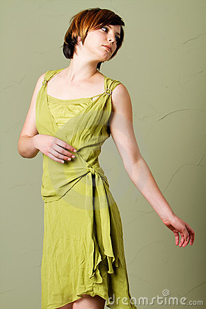 Short hair woman with dress