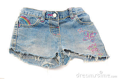 Short denim pants of girl