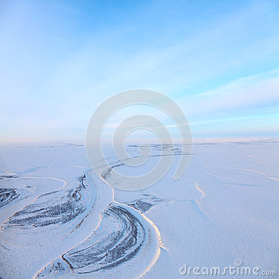 Free Short Winter Day Above Frozen Tundra River, Top View Stock Photos - 51820743