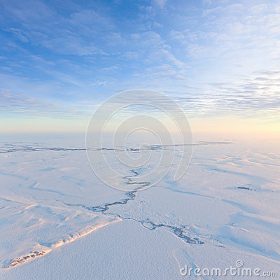 Free Short Winter Day Above Frozen Tundra, Top View Stock Images - 51820854