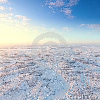 Free Short Winter Day Above Frozen Tundra, Top View Royalty Free Stock Image - 51821226